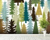 Woodland Trees wallpaper mural in-room view