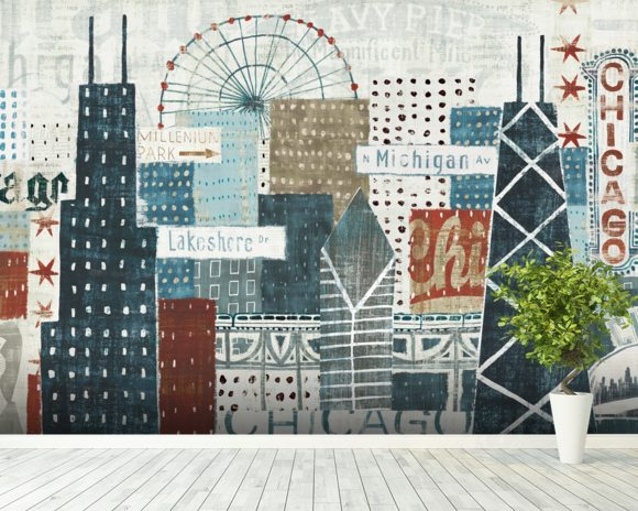 Hey chicago wall mural hey chicago wallpaper wallsauce for Mural in chicago illinois