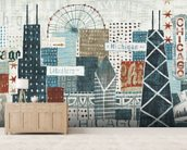 Hey Chicago wall mural living room preview