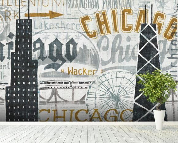 Hey Chicago Vintage wallpaper mural room setting