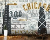 Hey Chicago Vintage wallpaper mural kitchen preview