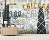 Hey Chicago Vintage wallpaper mural living room preview