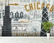 Hey Chicago Vintage wallpaper mural in-room view