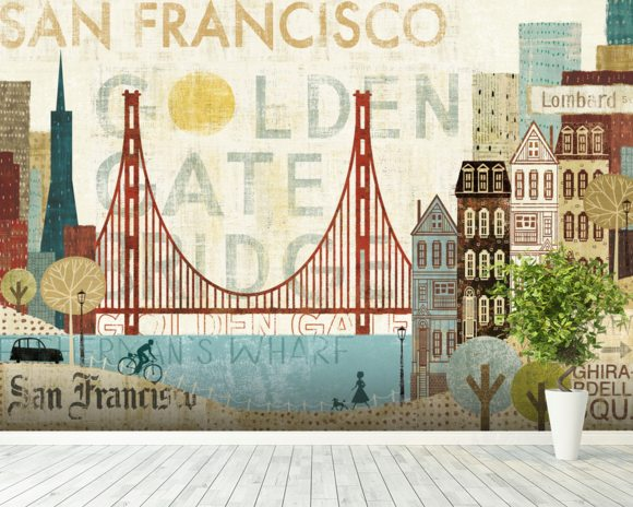 Hey San Francisco wall mural room setting