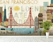 Hey San Francisco wall mural in-room view