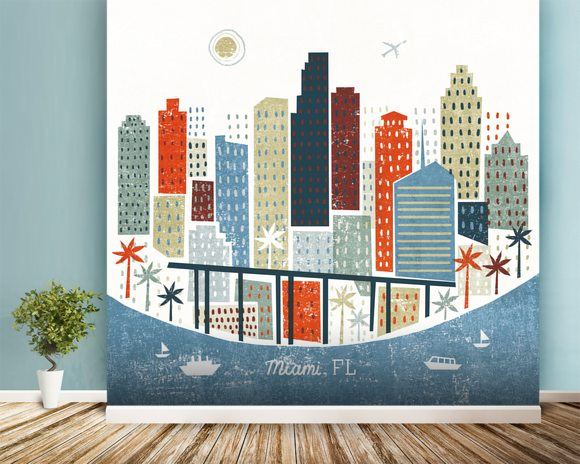 Colourful Miami wallpaper mural room setting