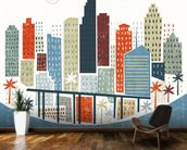 Colourful Miami wallpaper mural kitchen preview