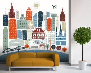 Colourful New Orleans mural wallpaper