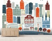 Colourful New Orleans mural wallpaper living room preview