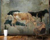 Study of Five Horned Cattle (verso) (oil on millboard) wallpaper mural kitchen preview