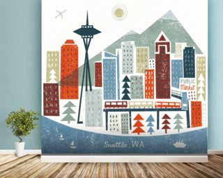 Colourful Seattle mural wallpaper