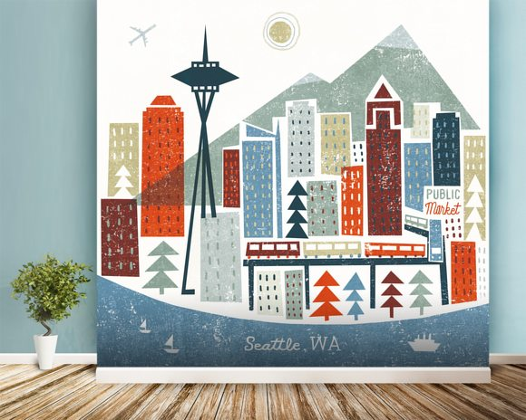 Colourful Seattle mural wallpaper room setting