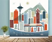 Colourful Seattle mural wallpaper in-room view