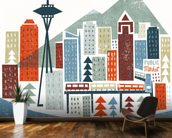 Colourful Seattle mural wallpaper kitchen preview