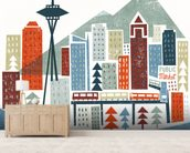 Colourful Seattle mural wallpaper living room preview