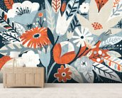 Vintage Bouquet Orange wall mural living room preview