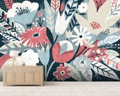 Vintage Bouquet Pink mural wallpaper living room preview