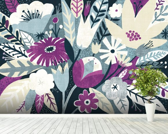 Vintage Bouquet Plum wallpaper mural room setting