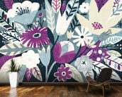 Vintage Bouquet Plum wallpaper mural kitchen preview