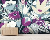 Vintage Bouquet Plum wallpaper mural living room preview