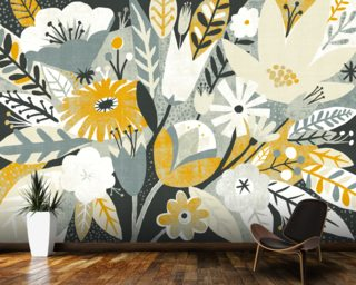 Vintage Bouquet Yellow mural wallpaper
