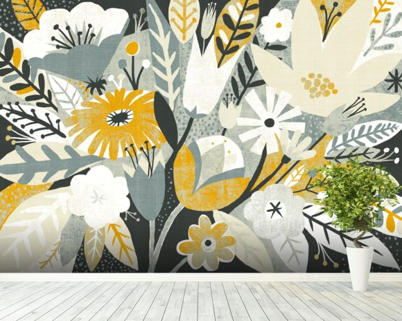 Vintage Bouquet Yellow mural wallpaper room setting