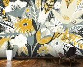 Vintage Bouquet Yellow mural wallpaper kitchen preview