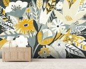 Vintage Bouquet Yellow mural wallpaper living room preview