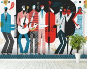 The Band wall mural in-room view