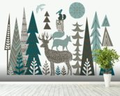 Forest Folklore wallpaper mural in-room view