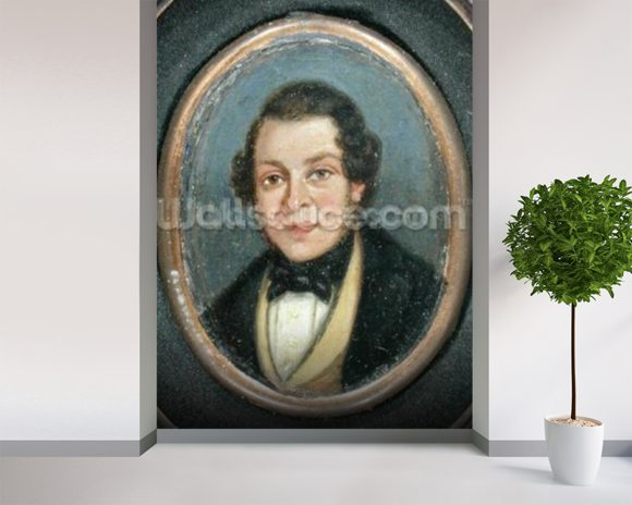 Miniature: Portrait of Abram Constable (1783-1862), brother of the artist (oil on board) mural wallpaper room setting