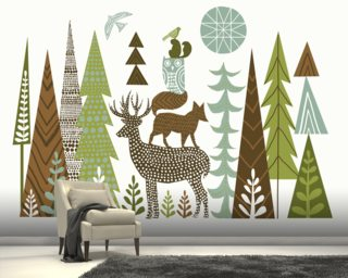 Forest Folklore Green mural wallpaper