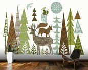 Forest Folklore Green mural wallpaper kitchen preview
