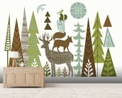 Forest Folklore Green mural wallpaper living room preview