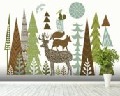 Forest Folklore Green mural wallpaper in-room view