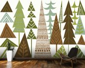 Forest Folklore Green Trees wall mural kitchen preview