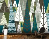 Geometric Forest Green wallpaper mural kitchen preview