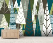 Geometric Forest Green wallpaper mural living room preview