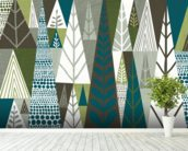 Geometric Forest Green wallpaper mural in-room view