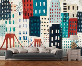 NY Skyline Collage wall mural