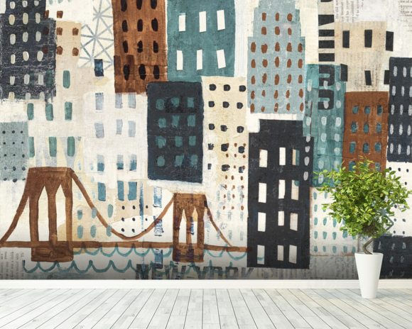 NY Skyline Collage Neutral wallpaper mural room setting