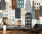 NY Skyline Collage Neutral wallpaper mural kitchen preview