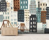 NY Skyline Collage Neutral wallpaper mural living room preview