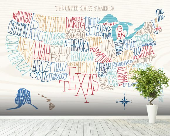 Hand Lettered US Map Wall Mural & Hand Lettered US Map Wallpaper ...