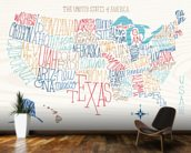 Hand Lettered US Map mural wallpaper kitchen preview