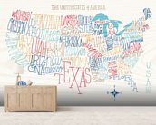 Hand Lettered US Map mural wallpaper living room preview
