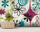 Mid Century Mystique mural wallpaper living room preview