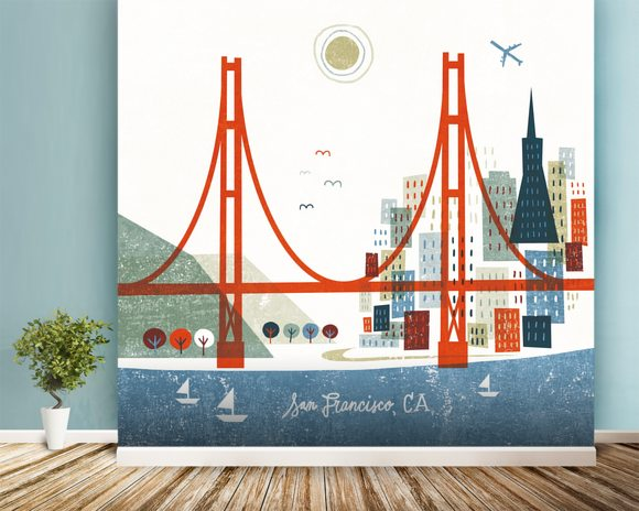 Colourful San Francisco wallpaper mural room setting