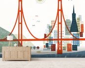 Colourful San Francisco wallpaper mural living room preview