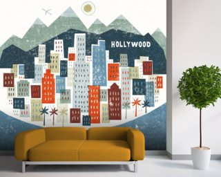 Colourful Los Angeles mural wallpaper